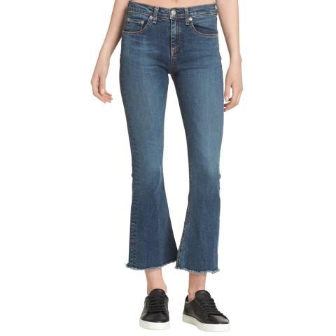 Rag & Bone Mid Blue Kick Flare Cropped Jeans