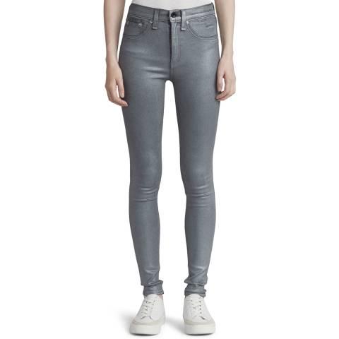 Rag & Bone Grey Coated High Rise Skinny Stretch Jeans