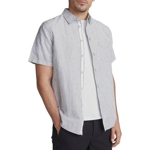 Rag & Bone White/Blue Stripe Beach Cotton/Linen Shirt