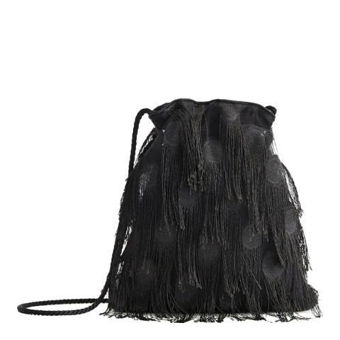 Mango Black Fringe Bucket Bag