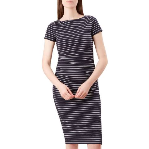 Hobbs London Navy Stripe Bridget Dress