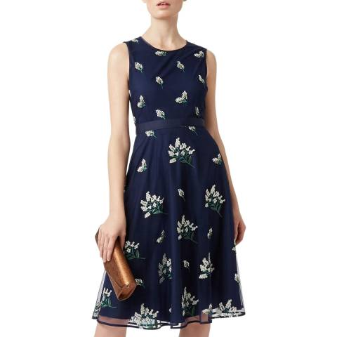 Hobbs London Navy Embroidered Julia Dress