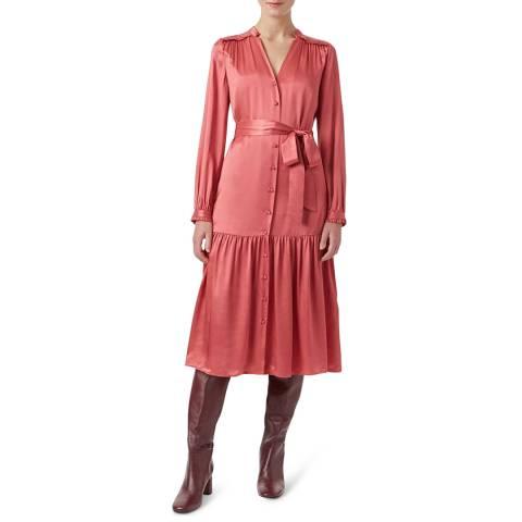 Hobbs London Pink Satin Esther Dress