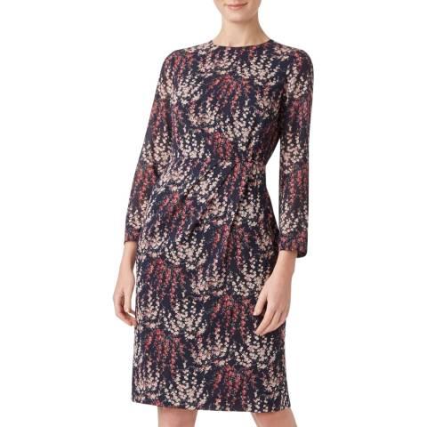 Hobbs London Navy Floral Trina Silk Stretch Dress