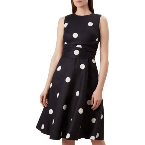 Hobbs London Navy Dot Twitchill Dress