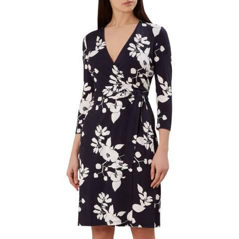 Hobbs London Navy Print Delilah Wrap Dress