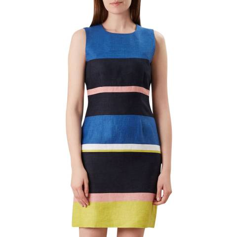 Hobbs London Blue Colourblock Ives Dress