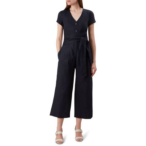 Hobbs London Navy Jayne Linen Jumpsuit