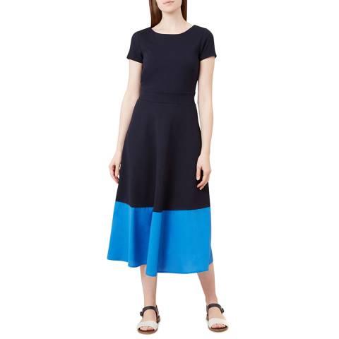 Hobbs London Navy Colourblock Helenora Dress
