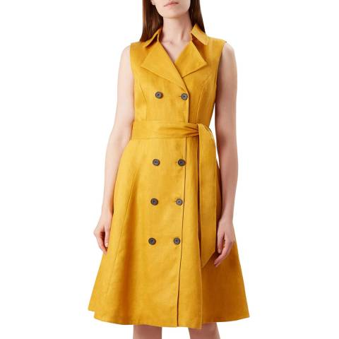 Hobbs London Mustard Double Breasted Sabina Dress