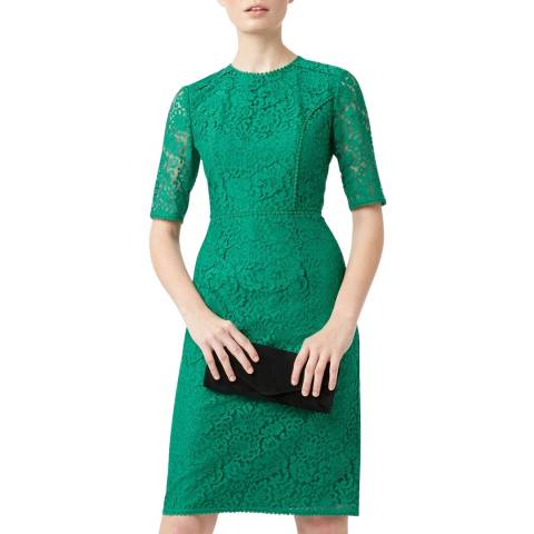 Hobbs London Green Lace Penny Shift Dress