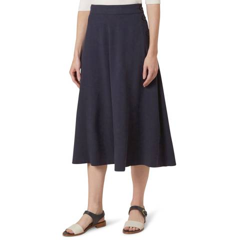Hobbs London Navy Button Skirt