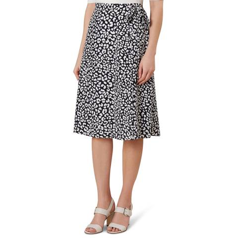 Hobbs London Navy Print Iona Wrap Skirt