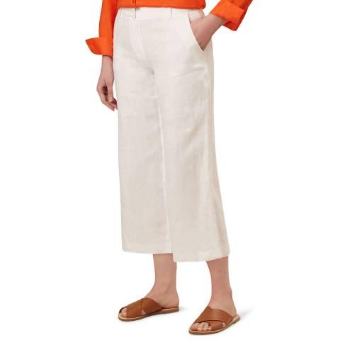 Hobbs London White Nicole Linen Crop Trousers