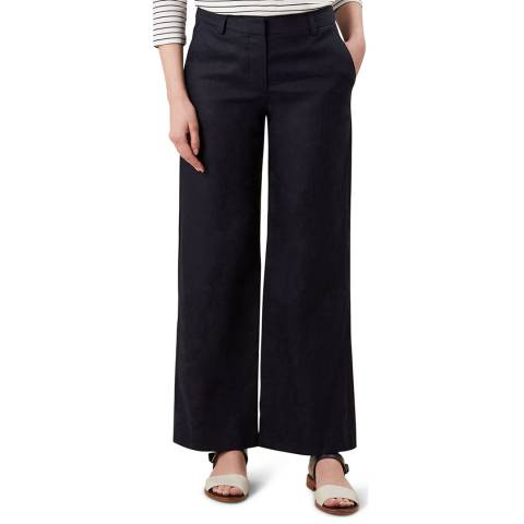 Hobbs London Navy Nicole Linen Trousers