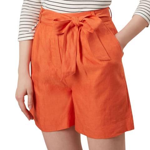 Hobbs London Orange Tie Waist Shorts