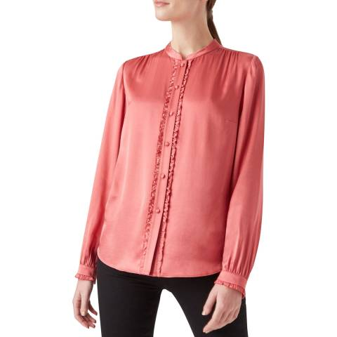 Hobbs London Pink Satin Esther Blouse