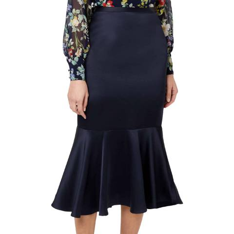 Hobbs London Navy Satin Amberlee Skirt