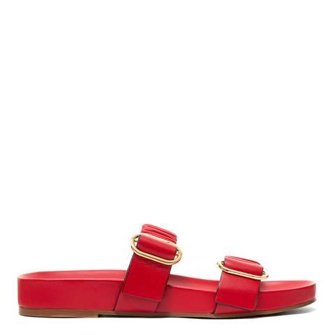 Stuart Weitzman Red Leather Shalene Slides