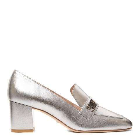 Stuart Weitzman Silver Leather Frances Heeled Pump