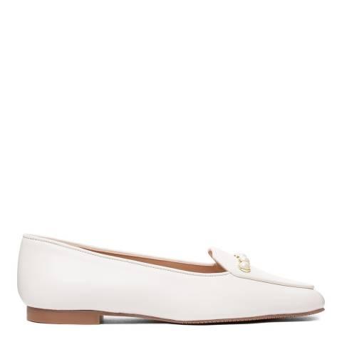 Stuart Weitzman Cream Leather Rosie Flat Loafer