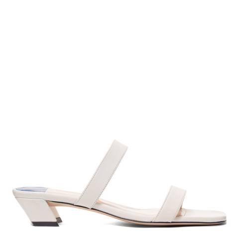 Stuart Weitzman White Ava Slide Sandal