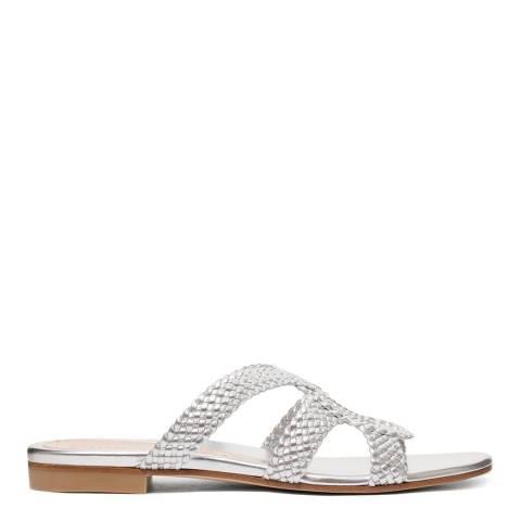 Stuart Weitzman Silver Woven Sarita Flat Sandal