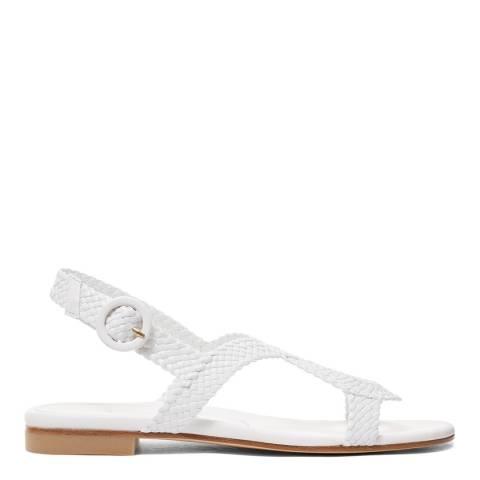 Stuart Weitzman White Woven Teodora Flat Sandal