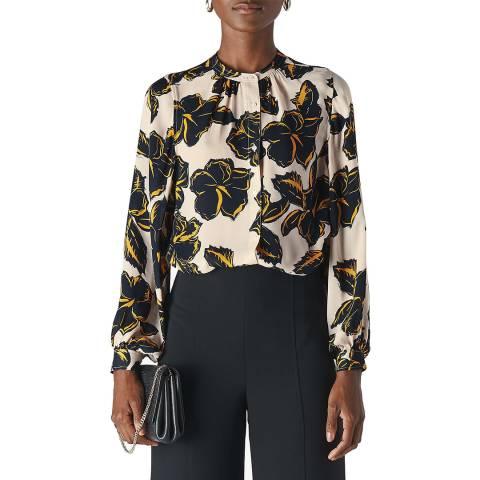 WHISTLES Multi Tropical Flower Silk Shirt