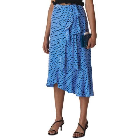 WHISTLES Blue Lunar Spot Wrap Skirt