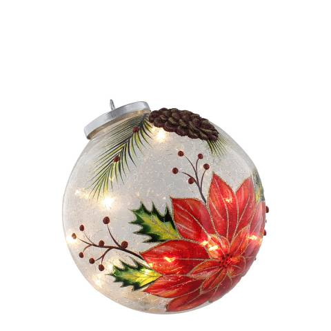 Festive Poinsettia Crackle Ball with Light 18cm