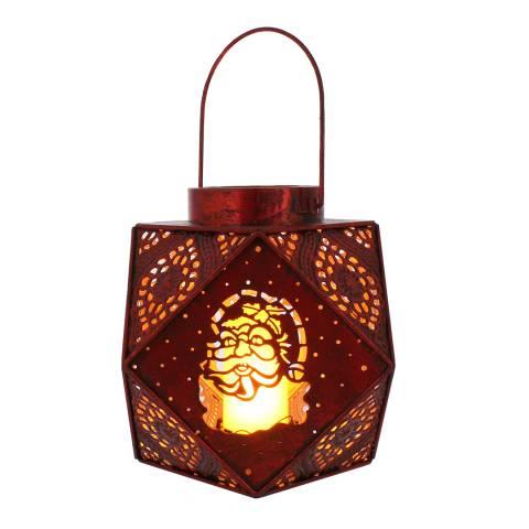 Festive Red Metal Geometric Santa Lantern Light 20cm