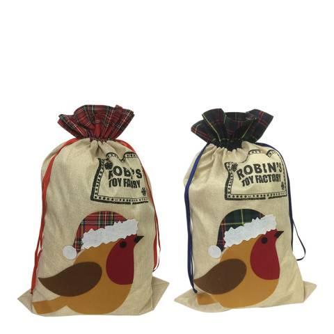 Festive Set of 2 Robin Stockings 85cm