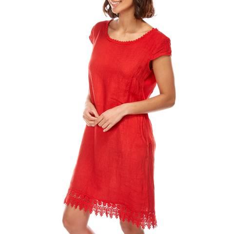 LE MONDE DU LIN Red Lace Hem Linen Dress