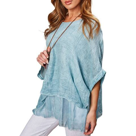 LE MONDE DU LIN Green Loose Sleeves Linen Tunique