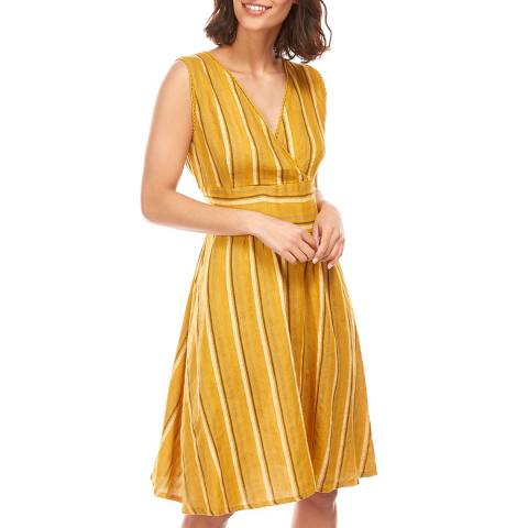 LE MONDE DU LIN Yellow V Neck Linen Dress