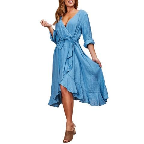 LE MONDE DU LIN Blue Wrap Linen Dress