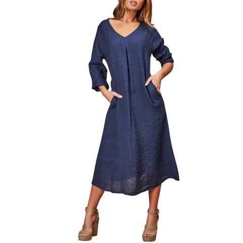 LE MONDE DU LIN Navy V Neck Linen Dress