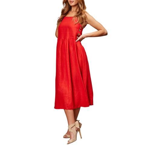 LE MONDE DU LIN Red Side Button Maxi Dress