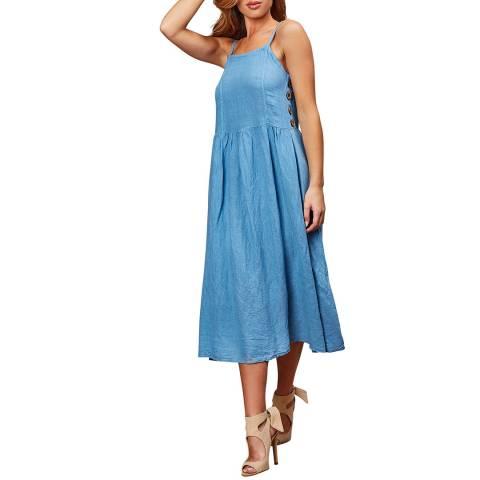 LE MONDE DU LIN Blue Summer Linen Maxi Dress