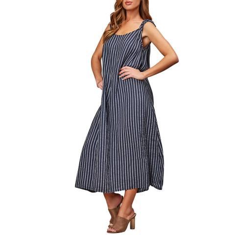 LE MONDE DU LIN Navy Striped Linen Maxi Dress