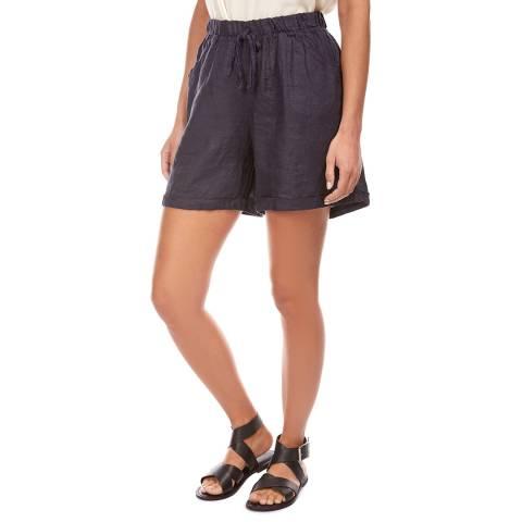 LE MONDE DU LIN Navy Mini Linen Shorts