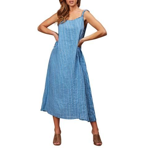 LE MONDE DU LIN Blue Striped Linen Maxi Dress