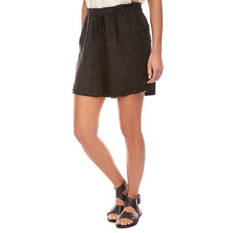 LE MONDE DU LIN Black Mini Linen Shorts