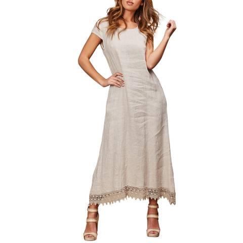 LE MONDE DU LIN Beige Short Sleeve Linen Dress