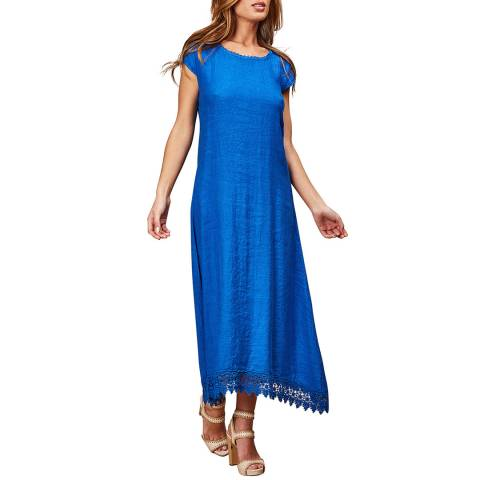 LE MONDE DU LIN Blue Short Sleeve Linen Dress