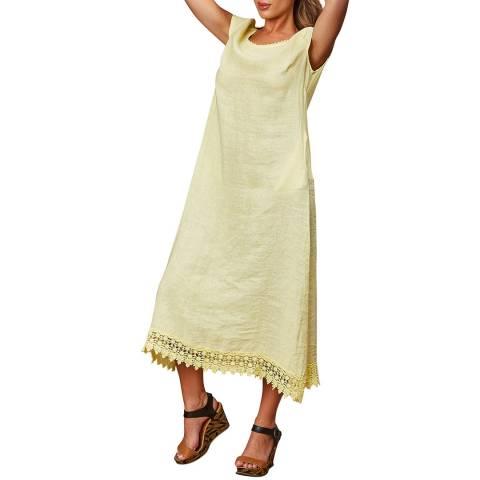 LE MONDE DU LIN Yellow Short Sleeve Linen Dress