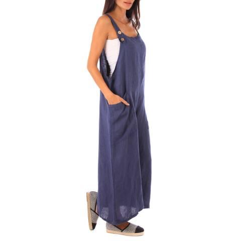 LE MONDE DU LIN Navy Oversized Linen Jumpsuit