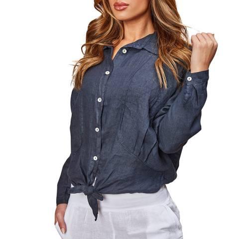 LE MONDE DU LIN Navy Tie Up Linen Shirt