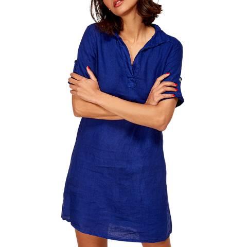 LE MONDE DU LIN Blue Mini Linen Dress